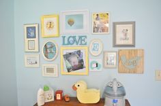 Great ideas for what to place in a gallery wall - love the mix of pictures with sentimental items! #gallerywall #nursery