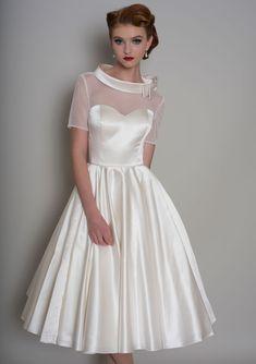 LB139 Hattie Vintage inspired tea length satin dress with spotted tulle illusion neckline and sleeves, a roll bateau collar with bow and button detail down the back