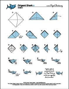 Paper Sharks Pattern B Origami Shark Folding Diagram And Instructions