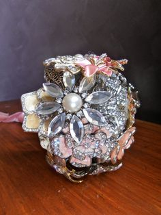Pink and Silver Brooch Bouquet by NoOrdinaryPosy on Etsy, $120.00