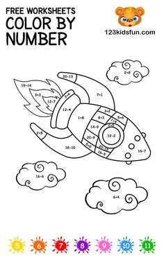 FREE Color By Number Rocket Coloring Pages for Kids Printable. Kids practice eye-hand coordination, learning color and addition. Best activities for Kids. Rockets For Kids, Math For Kids, Kids Fun, Alphabet Coloring Pages, Free Printable Coloring Pages, Alphabet Letter Crafts, Letter Tracing, Color By Number Printable, Numbers For Kids