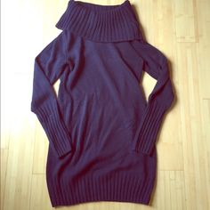 Navy sweater dress/long top Comfy dress! Perfect for fall and winter! Cowl neck is so flattering! H&M Sweaters Cowl & Turtlenecks