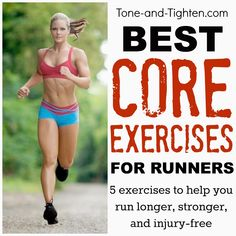 Best Exercises For Runners – How To Train Your Core For Your Next Race Stronger core = stronger run. Best exercises for runners from the physical therapist at Tone-and- Best Core Workouts, Running Workouts, Running Tips, Fun Workouts, Core Exercises, Running Training, Running Usa, Running Injuries, Start Running
