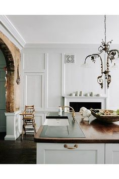 Kitchen with Original Panelling - An 18th-century house in Bath transformed into a stylish traditional B&B - kitchens on HOUSE by House & Garden.