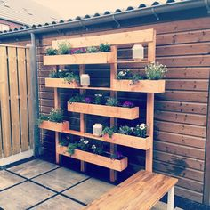 Made a vertical garden for our beautiful garden # Diy # home garden . Vertical Garden Wall, Vertical Gardens, Diy Garden Furniture, Pallet Furniture, Pallets Garden, Balcony Garden, Sky Garden, Garden Projects, Backyard Landscaping