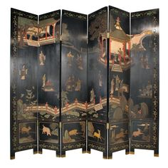 Six Panel Chinese Screen, lacquered wood