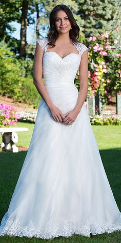 Fabulous Tulle & Satin Queen Anne Neckline A-Line Wedding Dresses With Lace Appliques