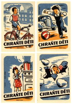 Czechoslovakian matchboxes from the 40′s or 50′s with a child-safety theme