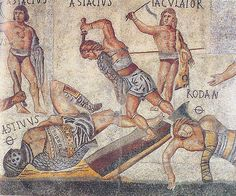 """From the """"Gladiator Mosaic,"""" from the 4th century CE, outside Rome. Each of the 33 pictured gladiators (this is a close-up) is named."""
