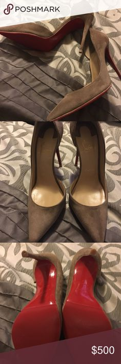 Gently used Louboutin size 8 shoe Gently used size 8 tan shoe.... I just had them sent to be cleaned and resoled..... I'm open to all offers Christian Louboutin Shoes Heels