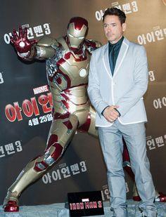 """Robert Downey Jr. durante la conferencia de prensa de """"Iron Man 3""""en Seúl, Corea del Sur"""