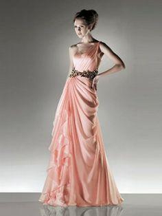Hübsche Schulter ärmellose bodenlangen Chiffon Damast Brautjungfer Abendkleider 385,87 €   214,49 €