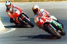 IOM action years after both their first visits. Mike Hailwood (Ducati) leads his old rival Phil Read (Honda). Hailwood had retired, raced Formula 1 and then decided to give the island one last go. He won!