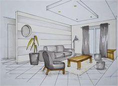 Gallery photos for croquis dessin maison Interior Design Renderings, Drawing Interior, Interior Rendering, Interior Sketch, Interior And Exterior, Architecture Design, China Architecture, Decoration Design, Deco Design