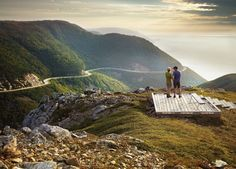 CabotTrail, Cape Breton, Nova Scotia, Canada This 300 km trail through the highlands of Nova Scotia's Cape Breton, on Canada's east coast, is actually a drive; a beautiful, scenic loop carved into the side of mountains that rise high above the waters of the Gulf of St. Lawrence. It winds around Cape Breton's northern shore, ascending to the plateaus of Cape Breton Highlands National Park.