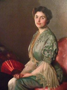Portrait of Mrs William Paxton entitled The Red Fan by William McGregor Paxton 1906