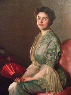 William McGregor Paxton - The Red Fan (Portrait of Mrs William Paxton)1906