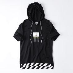 17.85$  Know more - Hip hop hooded men t shirt with stripe poleras hombre de marca tshirt homme man t shirt summer 2016 streewear black, pink,white   #magazine