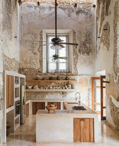 Modern kitchen preserves the historic feel of this century Hacienda located on the Mexican Yucatán Peninsula. × - Modern kitchen preserves the historic feel of this century Hacienda located on the Mexican Yuc - Rustic Kitchen Design, Interior Design Kitchen, Interior Decorating, Kitchen Layout, Earthy Kitchen, Decorating Ideas, Rustic Kitchens, Kitchen Ideas, Kitchen Modern