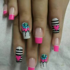 Cute pink and black nail art Fancy Nails, Love Nails, Pretty Nails, Fabulous Nails, Perfect Nails, Minimalist Nails, Cute Nail Art, Nail Decorations, Beauty Nails