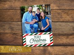 Photo Christmas Card – Merry Christmas Photo Card – Holiday Card – Christmas Photo Card – Photo Card – Family Photo – Red Green Stripe 1 photo printable Merry Christmas card. Year-In-Review style also available
