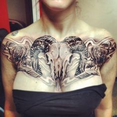 FOUND! THIS IS EXACTLY WHAT I'VE BEEN LOOKING FOR!! Ram skull chest tattoo. No roses.. Just the skull