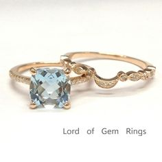 *828 Cushion Aquamarine Engagement Ring Sets Pave Diamond Wedding 14K Rose Gold 8mm  Art Deco