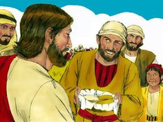 Andrew, Simon Peter's brother, spoke up. 'There's a young boy here with five barley loaves and a couple of fish! But what good is that with all these mouths to feed? Free Stories, Bible Stories, Jairus Daughter, Simon Peter, Mark 6, Luke 9, Jesus Heals, We Are A Team, Two Fish