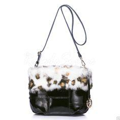 Sac Besace Femme-Noir lapin fourrure en cuir à double usage forfait
