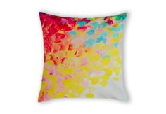 Creation in Colour, Lovely Ebi Emporium #velveteen #throwpillow #cushion #pillow in #Australia, #fineart #bedding #red #rainbow #crimson #magenta #pink #turquoise #cyan #blue #sunshine #yellow #lemon #white #splash #ocean #waves #beach #summer #wild #nature #abstract #painting #neon #modern #trendy #fun #raspberry #ombre #pattern #brushstrokes #organic #design #home #decor #decorative #bedroom #accessories #colorful #colourful #whimsical #stylish #bold