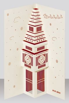 Big Ben Christmas pop-up card (price with shipping) by Paper Tango ltd on The Bazaar