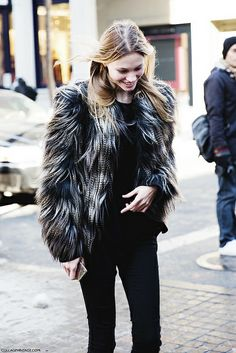 New_York_Fashion_Week-Street_Style-Fall_Winter-2015-Stripes_Fur_Coat-White_Boots-Fur_Coat-Model- by collagevintageblog, via Flickr
