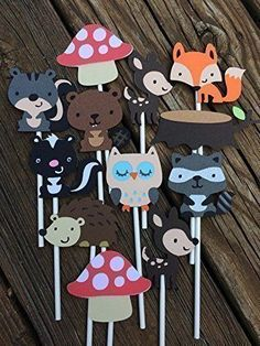 camping birthday cake banner - Woodland Themed Cupcake Toppers Forest Friends Decorations ** For more information, visit image link. (This is an affiliate link) Camping Birthday Cake, Camping Cakes, It's Your Birthday, Baby Camping Gear, Camping With A Baby, Woodland Critters, Woodland Animals, Cake Banner, Lollipop Sticks