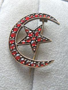 Stunning Antique Bohemian Garnet Crescent Moon & Star Pin from amanra on Ruby Lane