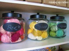 yarn storage craft room storage Raising up Rubies via Funky Junk Interiors. Once again gallon jars. Sewing Room Storage, Craft Room Storage, Sewing Rooms, Craft Rooms, Diy Yarn Storage Ideas, Knitting Storage, New Crafts, Creative Crafts, Yarn Display