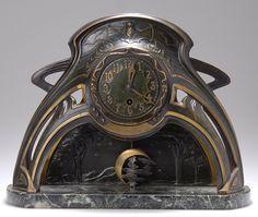 LENZKIRCH Art Nouveau Bat Clock, c. 1905, with crescent moon and stars pendulum, cast brass, 28cm H.