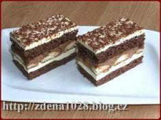 čokoládové řezy Czech Desserts, Yummy Treats, Sweet Treats, Czech Recipes, Cake Bars, Pastry Cake, Ice Cream Recipes, Desert Recipes, Creative Food