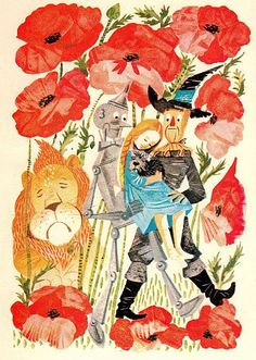 Wizard of Oz by Leonard Weisgard (via @Andrea / FICTILIS Lauren) #LeonardWeisgard #WizardOfOz #poppies