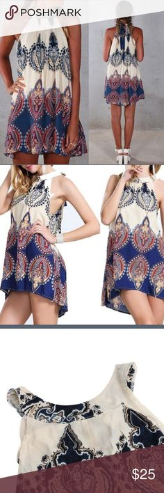 HOTBOHEMIAN STYLE SUMMER MINI Extremely fan size large Bohemian style summer mini dress ties around the neck is this size large may run a little small is very cute perfect for over a swimsuit it is extremely thin! Dresses Mini