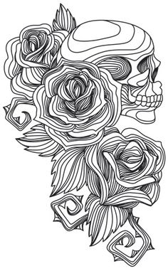 Engraved Skull and Roses | Urban Threads: Unique and Awesome Embroidery Designs