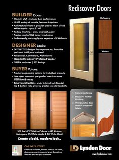 A catalog page for one of our great Chicagoland distributors: NW Millwork. This page is aimed at builders - providing information on some of the commercial|architectural doors we do. Relevant local factors such as availability of 9' tall veneer doors and compliance with the Chicago Life Safety code (fire rating) are highlighted. Our territory rep in Chicago is happy to visit architects or designers needing more info. Joel Roberts: joelresolve@mac.com