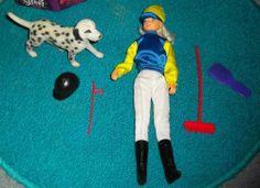 Chelful horse rider/jockey Barbie sized doll (Pony World), dog, broom, etc 6.5 listed for