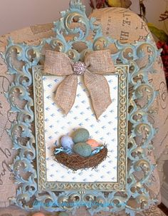 Life on Lakeshore Drive ASCP vintage frame with bird's nest