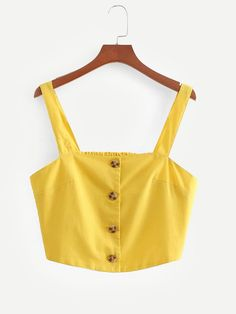 Young Casual Cami Plain Slim Fit Straps Yellow Crop Length Button Through Crop Top