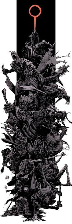 Dark Souls 3 bosses splash by uger Dark Souls 3, Arte Dark Souls, Dark Souls All Bosses, Dark Fantasy Art, Dark Art, Sketch Video, Splash Art, Soul Game, Arte Horror