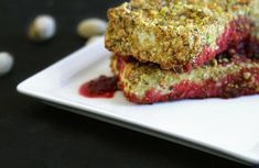 Pistachio Crusted Tofu With a Prickly Pear Sauce [Vegan, Gluten-Free]