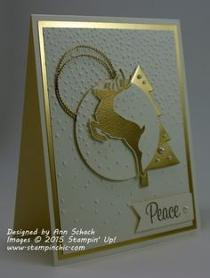 handmade Christmas card ... ivory and shiny metallic gold ... mod look with die cut stag topping a montage ... great card! ... Stampin' Up!
