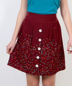 Take a look at this Red & White Geometric Pleated Skirt on zulily today!