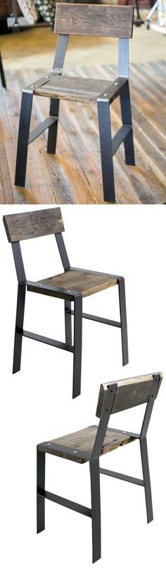 It sits easy and looks great. Every piece is a unique masterpiece, stout hearted but simple in an elegant way. Find the Urban Forge Dining Side Chair as seen in the side chairs collection at www. Steel Furniture, Wooden Furniture, Industrial Furniture, Furniture Design, Side Chairs, Dining Chairs, Chaise Bar, Design Set, Deco Table