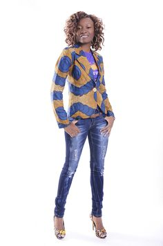 African Print Jacket,Jeans n print like heels :)  The Jacket Available under Vonette Boutique